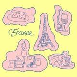 Wektorowy ustawiający światło - różowi prości majchery Francja na żółtym tle ilustracji
