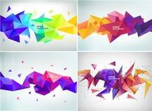 Wektorowy ustawiający abstrakcjonistyczna geometryczna 3d faseta kształtuje, horyzontalni sztandary, tła, tapety ilustracja wektor