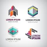 Wektorowy ustawiający abstrakcjonistyczni kształty, logowie, ikony odizolowywać Obrazy Stock