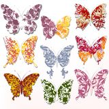 Wektorowy ustawiający abstrakcjonistyczni zawijasów motyle Zdjęcia Stock