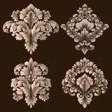 Wektorowy Ustawiający Adamaszkowi Ornamentacyjni elementy Eleganccy kwieciści abstrakcjonistyczni elementy dla projekta Doskonali Obraz Stock