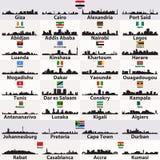 Wektorowy ustawiający afrykańskich miast linii horyzontu abstrakcjonistyczne sylwetki ilustracji