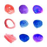 Wektorowy Ustawiający akwarela punkty, Kolorowy farba projekt Elemets Odizolowywający na Białym tle, tęcza kolory royalty ilustracja