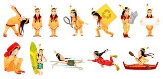 Wektorowy ustawiający amerykańskie hindus ilustracje Obraz Stock