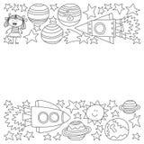 Wektorowy ustawiający astronautyczne element ikony w doodle stylu Malujący, czarny monochrom, obrazki na kawałek papieru na bielu royalty ilustracja