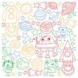 Wektorowy ustawiający astronautyczne element ikony w doodle stylu Malujący, kolorowy, obrazki na kawałek papieru na białym tle royalty ilustracja