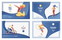 Wektorowy ustawiający błękitni sportów sztandary z dziewczyną robi cardio exersises i joga Żywi gradienty wewnątrz i uroczy młodz royalty ilustracja