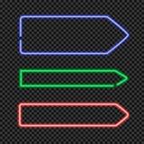 Wektorowy Ustawiający Błyszczeć Neonowa strzała Kształtować ramy, puste miejsce granicy na Przejrzystym tle royalty ilustracja