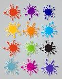 Wektorowy ustawiający barwioni kleksy na białym tle Zdjęcia Stock