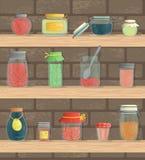 Wektorowy ustawiający barwiony dżem zgrzyta na półkach z ceglanym tłem ilustracji