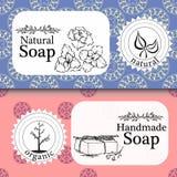 Wektorowy ustawiający bezszwowi wzory, etykietki i logo, projektujemy szablony dla handmade naturalny mydła pakować i opakunkowy  Obrazy Royalty Free