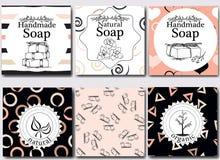 Wektorowy ustawiający bezszwowi wzory, etykietki i logo, projektujemy szablony dla handmade naturalny mydła pakować i opakunkowy  Zdjęcia Royalty Free