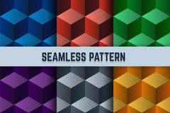Wektorowy ustawiający bezszwowi wzory Isometric sześciany kropkowali różnych kolory Zdjęcie Royalty Free