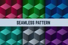 Wektorowy ustawiający bezszwowi wzory Isometric sześciany kropkowali różnych kolory Zdjęcia Stock