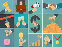 Wektorowy ustawiający biznesowa płaska ilustracja Obrazy Stock