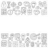 Wektorowy ustawiający biznesowe ikony w doodle stylu royalty ilustracja