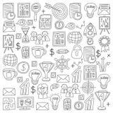 Wektorowy ustawiający biznesowe ikony w doodle stylu ilustracja wektor
