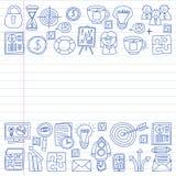 Wektorowy ustawiający biznesowe ikony w doodle stylu malujący penon kawałek papieru w linii ilustracja wektor