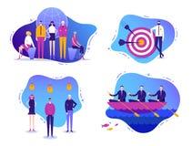 Wektorowy ustawiający biznesowe ilustracje Pomyślna praca zespołowa, międzynarodowa kreatywnie drużyna, pomyślny biznes, partners ilustracji