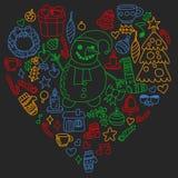 Wektorowy ustawiający boże narodzenia, wakacyjne ikony w doodle projektuje Malujący, kolorowy, obrazki na kawałek papieru na blac ilustracji