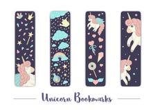 Wektorowy ustawiający bookmarks dla dzieci z jednorożec tematem ilustracja wektor