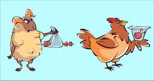 Wektorowy ustawiający cakli i kurczaka humor ilustracji