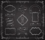 Wektorowy Ustawiający Chalkboard sztandary royalty ilustracja