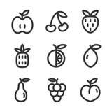 Wektorowy ustawiający cienkie kreskowe owocowe ikony Apple, pomarańcze, truskawka, ananas, wiśnia, cytryna, bonkreta, winogrono,  Zdjęcia Royalty Free