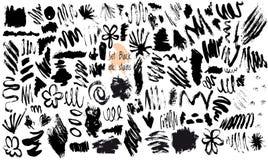Wektorowy Ustawiający Czarne atrament plamy ilustracja wektor