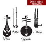 Wektorowy ustawiający czarny i biały chińczyka wiatru i sznurka instrumenty muzyczni, mieszkanie styl ilustracji