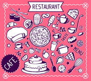 Wektorowy ustawiający czarny i biały kuchenne ikony Fotografia Stock