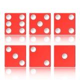 Wektorowy ustawiający czerwony kasynowy pojawienie z sześcianem na białym tle, ilustracji