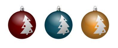 Wektorowy ustawiający dekoracyjne piłki z wizerunku xmas drzewem Ilustracji