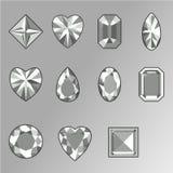 Wektorowy ustawiający diamenty różnorodni kształty Fotografia Royalty Free