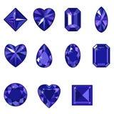Wektorowy ustawiający diamenty różnorodni kształty Zdjęcia Royalty Free