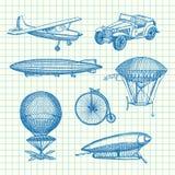 Wektorowy ustawiający dirigibles, bicykle i samochody steampunk ręki rysujący, ilustracji