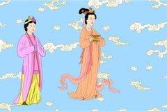 Wektorowy ustawiający dla Chińskich kobiet royalty ilustracja