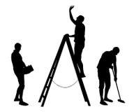 Wektorowy ustawiający domowe sprzątanie sylwetki mężczyzna postacie royalty ilustracja