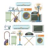 Wektorowy ustawiający domowych elektronika przedmioty odizolowywający na białym tle Domowe urządzenie ikony royalty ilustracja