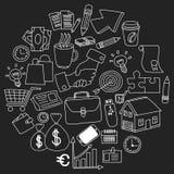 Wektorowy ustawiający doodle biznesowe ikony na blackboard Fotografia Stock