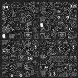 Wektorowy ustawiający doodle biznesowe ikony na blackboard Obrazy Stock