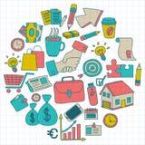 Wektorowy ustawiający doodle biznesu ikony Zdjęcie Stock
