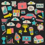 Wektorowy ustawiający doodle biznesu ikony Fotografia Stock