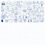 Wektorowy ustawiający doodle biznesu ikony Zdjęcia Royalty Free