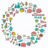 Wektorowy ustawiający doodle biznesu ikony Zdjęcia Stock