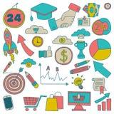 Wektorowy ustawiający doodle biznesu ikony Obrazy Royalty Free