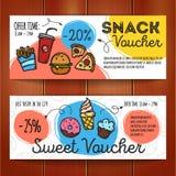 Wektorowy ustawiający dyskontowi talony dla fasta food i deserów Kolorowi doodle stylu alegata szablony Przekąski promo oferta Obraz Royalty Free