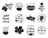 Wektorowy ustawiający dziękczynienie życzy narzuty, pisze list etykietki ilustracji