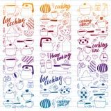 Wektorowy ustawiający dziecko kuchnia i kulinarne rysunek ikony w doodle projektujemy Malujący, kolorowy, gradient na kawałku lin royalty ilustracja