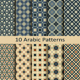 Wektorowy ustawiający dziesięć arabskich tradycyjnych wzorów Obraz Stock